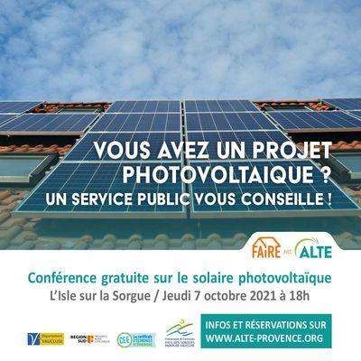 Conférence gratuite sur le photovoltaïque : l'énergie d'aujourd'hui et de demain le jeudi 7 octobre